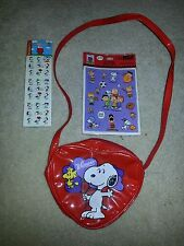 Peanuts Snoopy Woodstock Valentines Day Heart Vinyl Purse Bag & Free Stickers