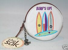 The Sak Iris Round Leather Coin Purse Surf #106794 Surf's Up! NWT