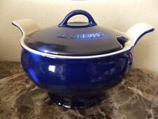 LE CREUSET~INDIGO 3 QT  COVERED STONEWARE SOUP TUREEN~NEW