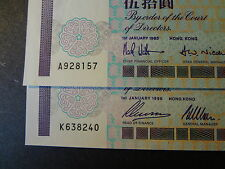 HONG KONG 1993 & 1996  CHARTERED BANK  $ 50, 2 NOTES, FRESH CHOICE UNC !