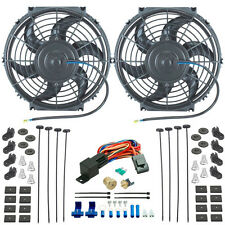 "DUAL 10"" INCH ELECTRIC RADIATOR COOLING FANS & 3/8"" NPT PROBE FAN THERMOSTAT KIT"