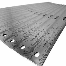Helix 12 Inch / 30cm Stainless Steel Flexible Metal Ruler - Non Slip - Pack x 12