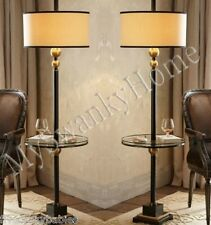 Contemporary Black White End Table FLOOR LAMP PAIR Set NEIMAN MARCUS Modern