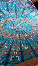 Anjuna blue & torquoise double bedspread FAIR TRADE cotton throw wallhanging NEW