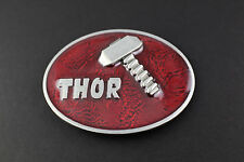 THOR HAMMER RED BELT BUCKLE AVENGERS  MARVEL COMIC BOOK MOVIE