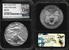 2017 Silver American Eagle NGC MS 70 Black Core US Mint 225th Anniversary Early