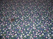 POLY/COTTON ALLOVER FLORAL PRINT-NAVY -DRESS FABRIC-FREE P&P