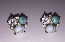 Forever 21 Gold Turquoise Sky Blue Bejeweled Gem Stud Earrings BRAND NEW
