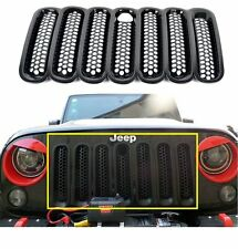 7pcs Front Grill Mesh Grille Insert with Key hood lock for Jeep Wrangler JK