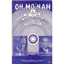 OH MO'NAH Paroles Musique Ted WEEMS Country Washburn Paroles Jacques REALE 1932