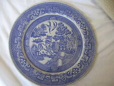 Blue Willow Tin Serving Plate With Legend On Back