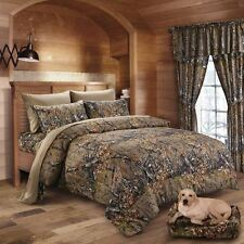 KING SIZE BROWN CAMO BEDDING 6 PC CURTAINS COMFORTER ONLY CAMOUFLAGE FAUX DOWN