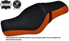 ORANGE & BLACK CUSTOM FOR HARLEY SPORTSTER 883 1200 TWO UP VINYL SEAT COVER