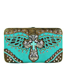 TURQUOISE STUDDED BLUE TEAL CROSS WITH WINGS LOOK FLAT THICK WALLET CLASP