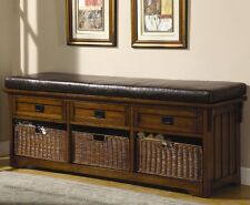Coaster 501060 - Benches Large Storage Bench with Baskets - Brown