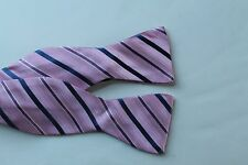Men's Bow Tie Nicole Miller Pink Blue Stripes New Free Shipping