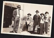 Old Vintage Antique Photograph Group of People Wearing Cool Outfits & Hats