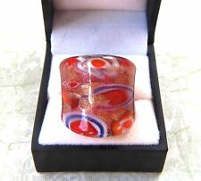Bohemian Red abstract Floral theme Hand Blown Glass Bling Ring size 9.25