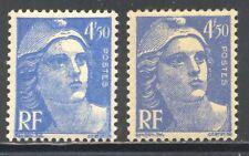 FRANCE 718A VARIETE:ligne en haut du front,sur RF et les chiffres +normal, LUXE