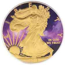 2016 1oz Ounce American Silver Eagle Coin Gold Gilded Colorized Galaxy Theme!