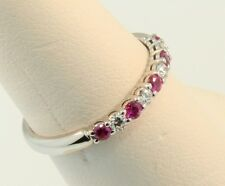 Tiffany & Co. 2.2mm Shared-Setting Pink Sapphire Diamond Ring Sz 5.0 $3729 w Tax