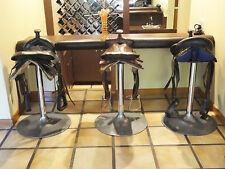 3 OUTRAGEOUSLY CHIC  EQUESTRIAN / HORSE SADDLE MOUNTED BAR STOOL ON TULIP BASE