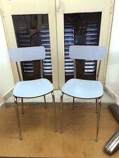 2 Sedie In Formica Anni60 Vintage Modernariato CROMATE Colore Celeste Perfette