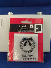 NEW STUDIO G CLEAR STAMP SET MERRY CHRISTMAS WREATH WITH BOW HOLIDAY VC0049