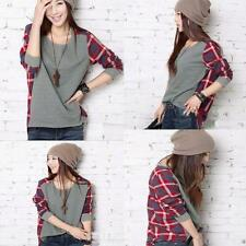 Lady Plaid Checked Asymmetric Casual Long Sleeve T-shirt Tops Blouse