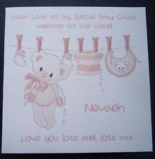 Personnalisé Félicitations naissance de bébé ou carte petite-fille