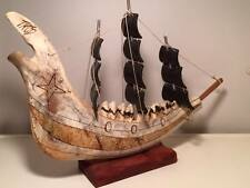 Signed antique folk art Buffalo bone and horn sail ship carving North American
