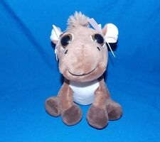 Baby Brown Horse sitting with BIG ADORABLE EYES and pink bows 7""