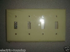 Mulberry Endura 92074, 4 Gang 4 Toggle Lexan Ivory Wall Plate New