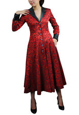 Gothic Victorian Steampunk Pirate Jacquard Vintage Long Coat Red Or Black