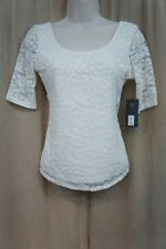 Guess Los Angeles Knit Top Sz XS Scuffy Ivory Cross Back Casual Cocktail Blouse