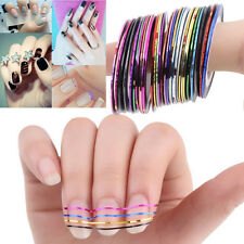 30 Pcs Mixed Colors Rolls Striping Tape Line Nail Art Tips Decoration Sticker UR