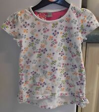 Girls good quality cotton top by Tu age 3/4 years white with multi floral design