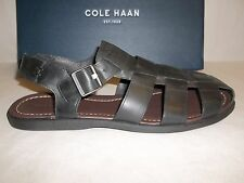 Cole Haan Size 13 M SHEFFIELD FISHERMAN II Black Leather Sandals New Mens Shoes