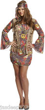 Womens Hippy Hippie Fancy Dress Costume Outfit 60s 70s Groovy Ladies Retro