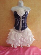 DENIM & DIAMONDS NAVY & WHITE CORSET TAFFETA PETAL TUTU SKIRT DRESS PARTY BRIDAL