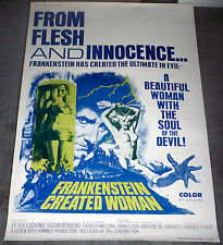 FRANKENSTEIN CREATED WOMAN orig large rolled 40x60 movie poster PETER CUSHING