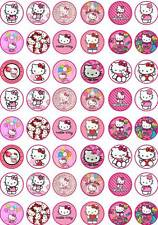 48 HELLO KITTY Party Birthday Fairy Cup Cake Toppers Wafer/Rice Paper Edible