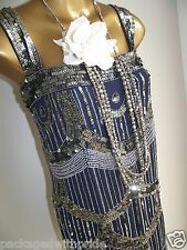 BN MONSOON FUSION LAVINIA NAVY GOLD SEQUIN EVE DECO 20's FLAPPER GASTBY DRESS 16