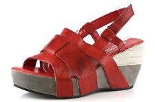 Antelope 867 Red Leather Ankle Strap Wedge Sandals 8812 Size 39 EU NEW!