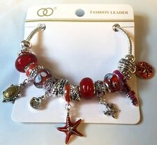 Chain Sea Starfish Star Turtle Red Murano Glass European Bead Charm Bracelet Sun