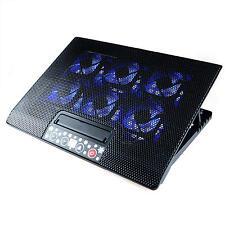 "Adjustable 2 USB LED Cooling Pad Cooler with 6 Fans for 12""-17""Laptop Notebook"