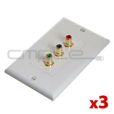3x Component Video + Audio RGB 3 RCA AV Wall Face Plate Gold Plated White