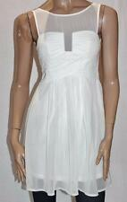VALLEYGIRL Designer White Chiffon Small Pleated Front Dress Size 8 BNWT #sG29