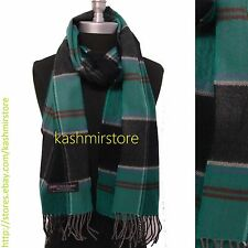 New 100%CASHMERE SCARF Check Plaid Scotland Soft Warm Wool Color Green/Black#A01