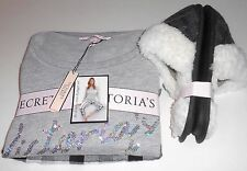 Victoria's Secret Bling Sequin Slouchy Crew & Plaid Jogger Set S & Slippers S